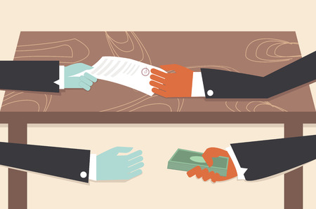 corruption: Corruption drawing illustrator conceptual cartoon. Illustration
