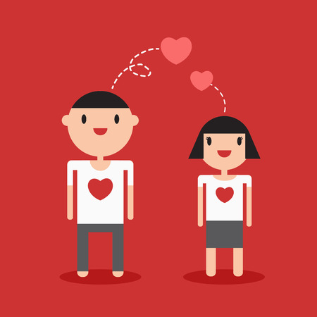 happy couple white background: Couple cartoon lover on white t-shirt red background