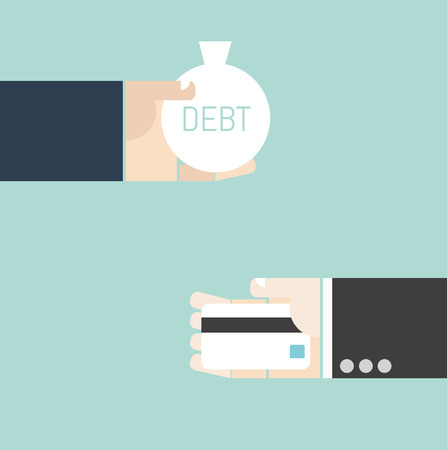 to commit: Business concept. Hand exchange debt and credit card.