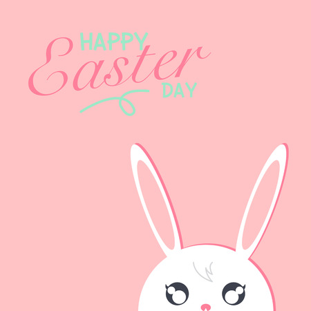 Happy easter day. Rabbit white on pink background with happy easter day text. Vector