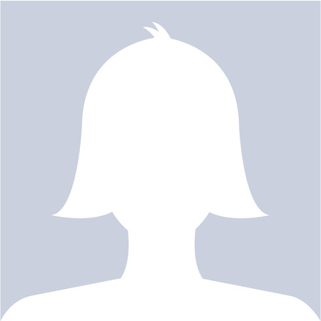 Female profile avatar icon white on blue background use for social network. Vector.