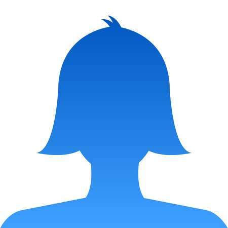 concealed: Female profile avatar icon blue on white background use for social network. Vector.