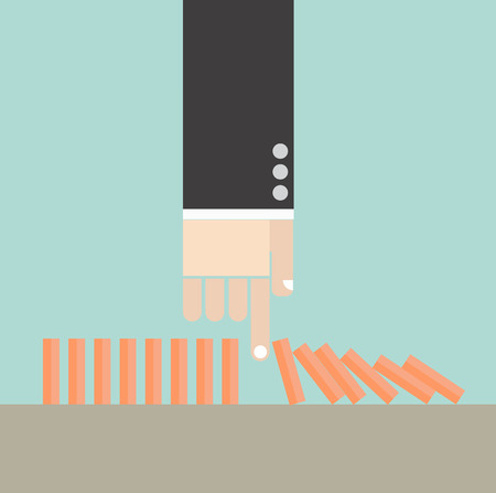 Business concept. Hand break domino crisis conceptuals. Vector
