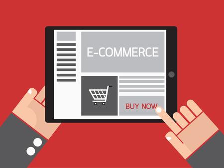 Business hand order e-commerce website on tablet. Vector