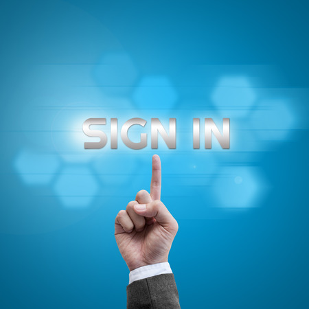 logon: Businessman hand working with modern computer interface as Sign in logon to website concept