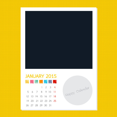 polariod frame: Calendar January 2015, Photo frame background Stock Photo