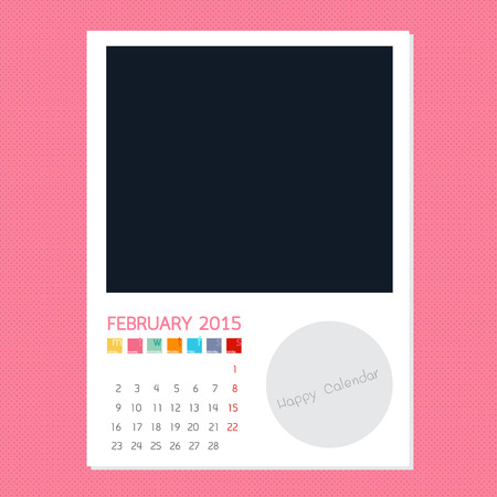 polariod frame: Calendar February 2015, Photo frame background
