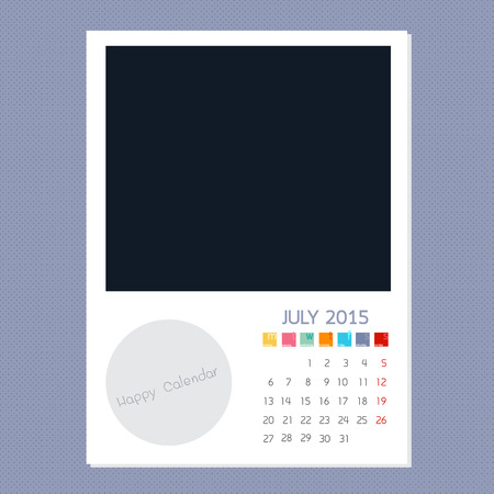 polariod: Calendar July 2015, Photo frame background