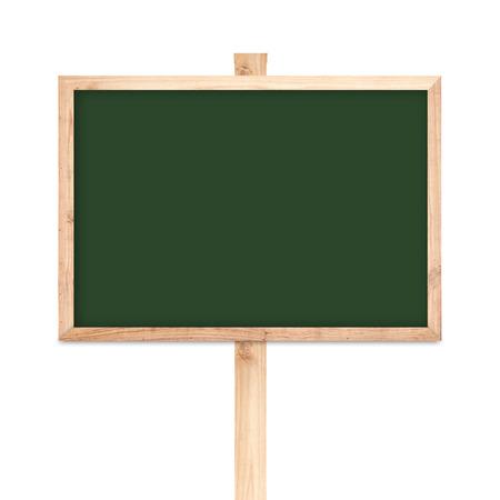 Blackboard wood label isolated on white background photo