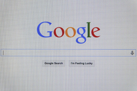 google: THAILAND - SEPTEMBER 2, 2014: Google search first landing page view on web browser.