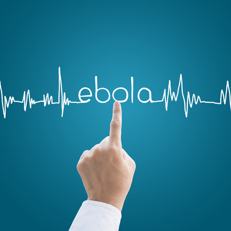 Hand medical with heart pulse Ebola virus concept photo