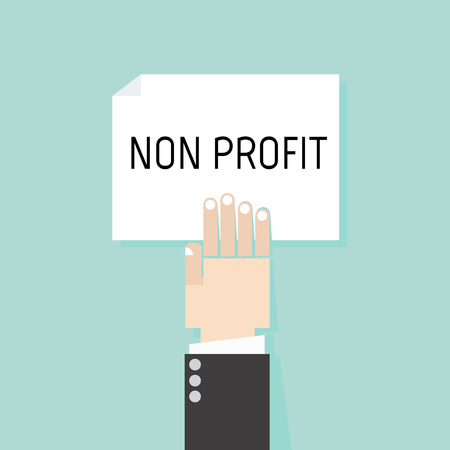 non: NON PROFIT. Conceptual of businessman show non profit on white paper