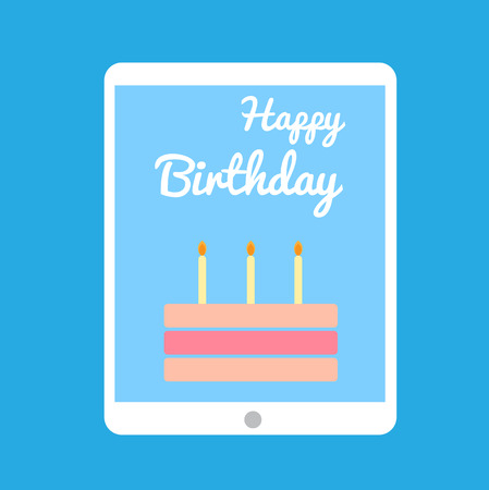 Happy birthday cake in tablet photo