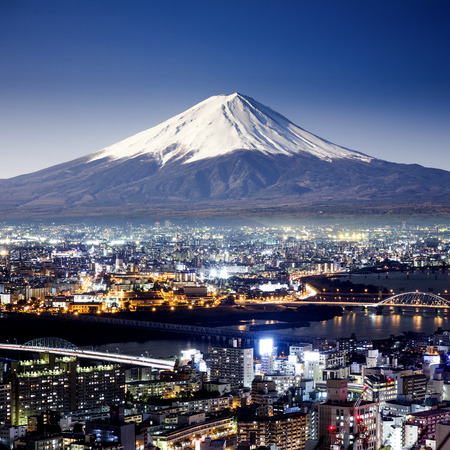 Mount Fuji. Fujiyama. Aerial view with cityspace surreal shot. Japan