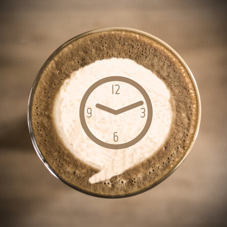 Time concept on Coffee latte art morning everyday photo