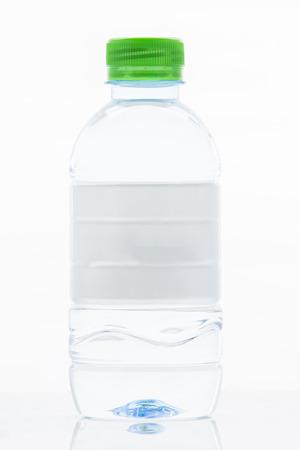 refelction: White Label water bottle isolated on white background Stock Photo