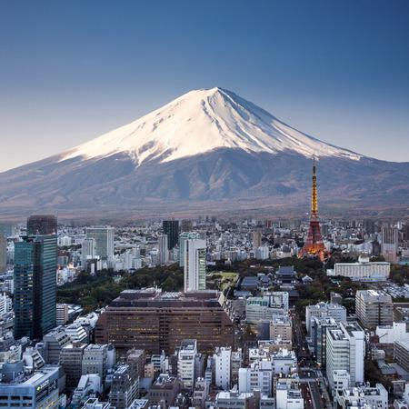 Tokyo bovenaanzicht zonsondergang met de berg Fuji surrealistische fotografie. Japan