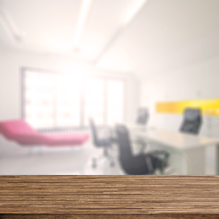 concision: Wood desk decoration with Office Working Area background Stock Photo