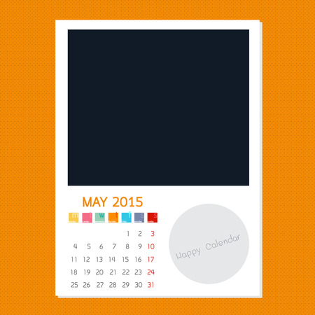 Calendar May 2015, Photo frame background Banco de Imagens - 32173436