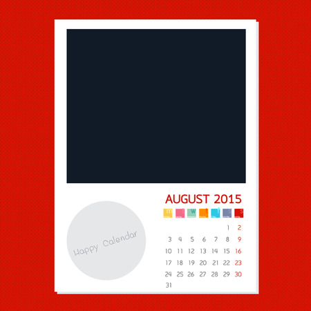 polariod: Calendar August 2015, Photo frame background