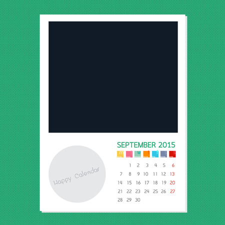 polariod frame: Calendar September 2015, Photo frame background Illustration