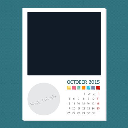 kalender oktober: Kalender oktober 2015, Foto frame achtergrond Stock Illustratie