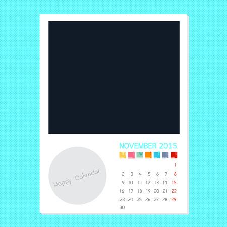 Calendar November 2015, Photo frame background Banco de Imagens - 32173442