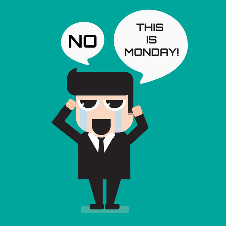 hate: Salaryman hate monday funny cute cartoon Illustration