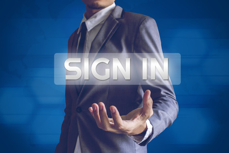 salaryman: Businessman or Salaryman with Sign in text modern interface concept.