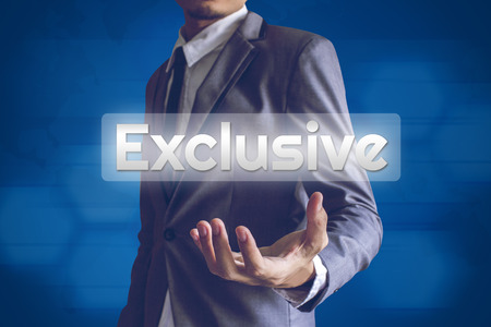 exclusive: Businessman or Salaryman with Exclusive text modern interface concept.