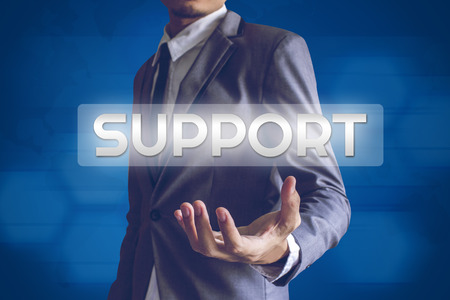 favour: Businessman or Salaryman with Support text modern interface concept.