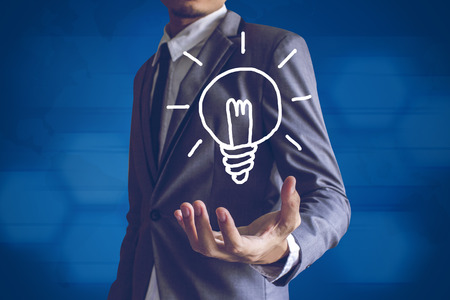 Businessman or Salaryman with idea text modern interface concept. photo