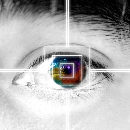 The eye scan laser modern interface recognition macro shot.