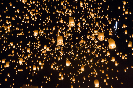 yeepeng: Floating lanterns yeepeng or loi krathong festival at Chiang Mai, Thailand.