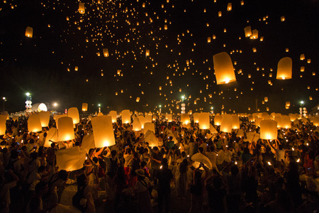 Floating lanterns yeepeng or loi krathong festival at Chiang Mai, Thailand.