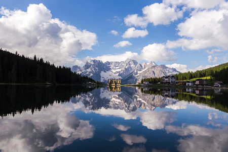 lake misurina: MISURINA, ITALY - JUNE 17: Misurina lake in Veneto province, Italy on June 17, 2014. Misurina is a lake in Dolomites mountain range in northern Italy.