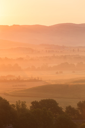 san quirico: Early morning on countryside, San Quirico d´Orcia, Tuscany, Italy Stock Photo