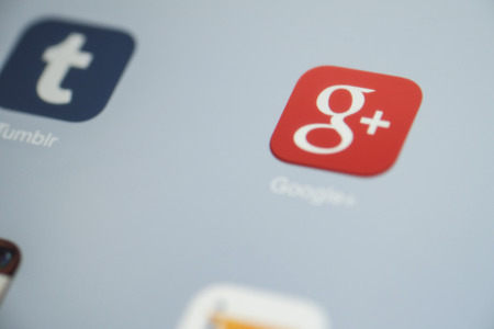 CHIANG MAI, THAILAND - OCTOBER 03, 2014: Google plus app and all of popular social media icons on tablet device screen.