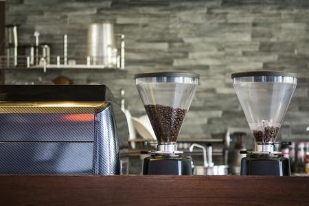 Interior coffee shop with coffee machine Standard-Bild