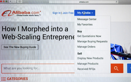 alibaba: CHIANG MAI, THAILAND - OCTOBER 22, 2014: Alibaba website close up on laptop screen. Alibaba  is a Chinese e-commerce company. Editorial