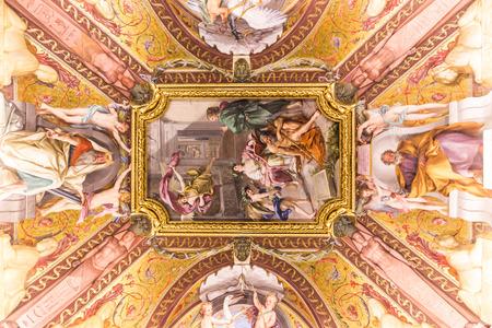 italian fresco: VATICAN - JUNE 09, 2014: The ceiling in one of the rooms of Raphael (Stanze di Raffaello) in the Vatican Museum, Rome, Italy. Editorial