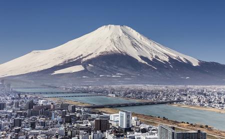 shogun: Mt. Fuji with cityspace view surreal shot.