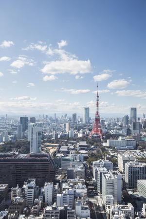 tokyo prefecture: TOKYO, JAPAN - 19 FEBRUARY 2015 - The city of Tokyo, Tokyo tower in the Kanto region and Tokyo prefecture, is the first largest metropolitan area in Japan. Downtown Tokyo is very modern with many skyscrapers. Editorial