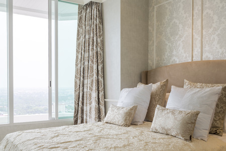 elegance: Luxury elegance bedroom close up with pillow.