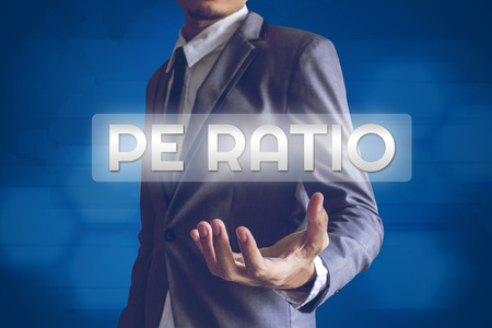 ratio: Businessman or Salaryman with PE Ratio text modern interface concept.