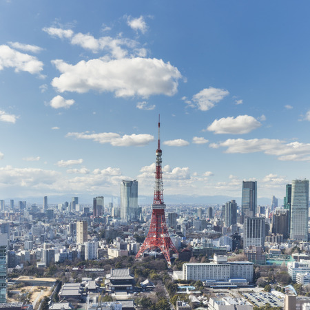 tokyo prefecture: TOKYO, JAPAN - 19 FEBRUARY 2015 - The Tokyo tower in the Kanto region and Tokyo prefecture, is the first largest metropolitan area in Japan. Downtown Tokyo is very modern with many skyscrapers.