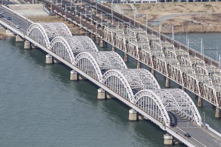 busines: Bridge of Osaka, Japan on top view.
