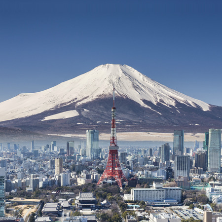 clear sky: Tokyo tower with mountain Fuji background surreal shot.