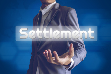 refinance: Businessman or Salaryman with Settlement text modern interface concept.