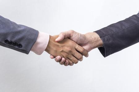 stretta di mano: Business stretta di mano su grigio